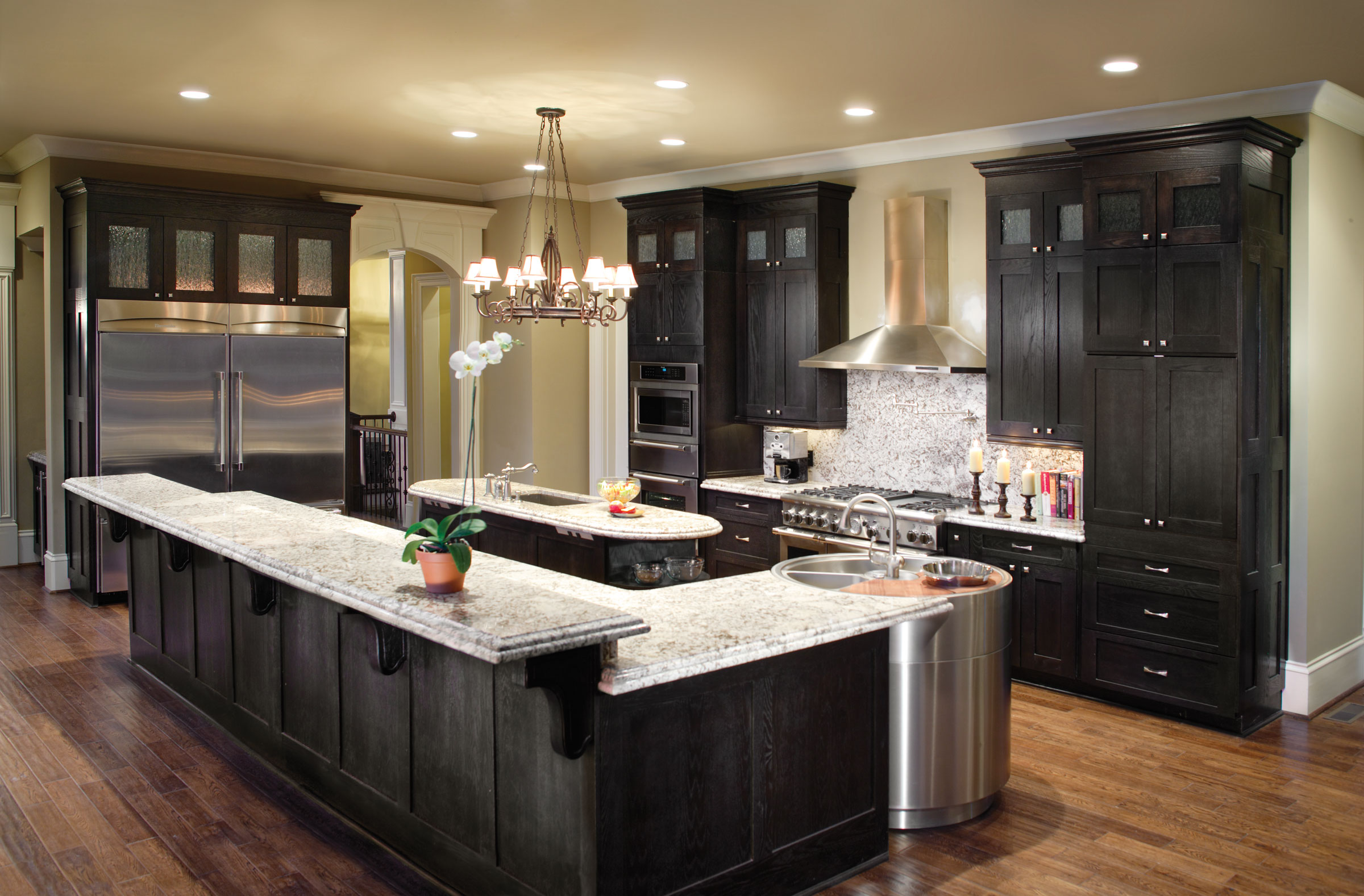 Black Stainless With Walnut Cabinets Kitchens